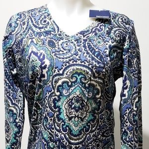 Basic Editions Women's S Blue Paisley LS Top